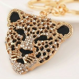 Accessories - Gold rhinestone giant cat key chain